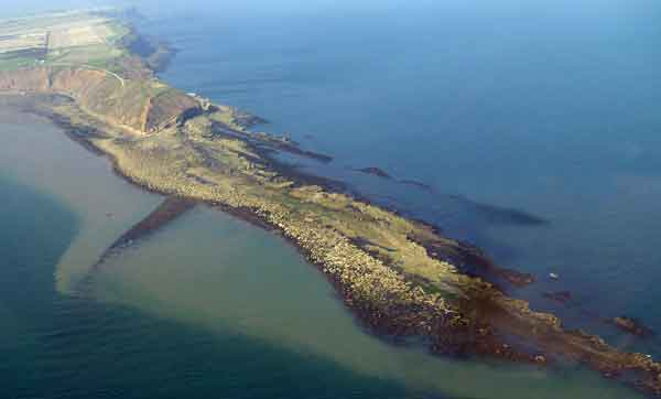 Aerial shot of the Spittals at Filey
