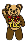 Picture of TLC logo, a brown teddybear with a yellow and red bow tie.