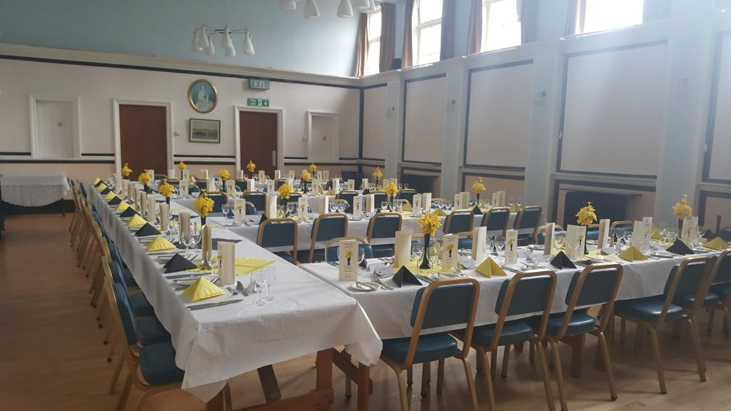Picture of Masonic hall laid out for a dinining event